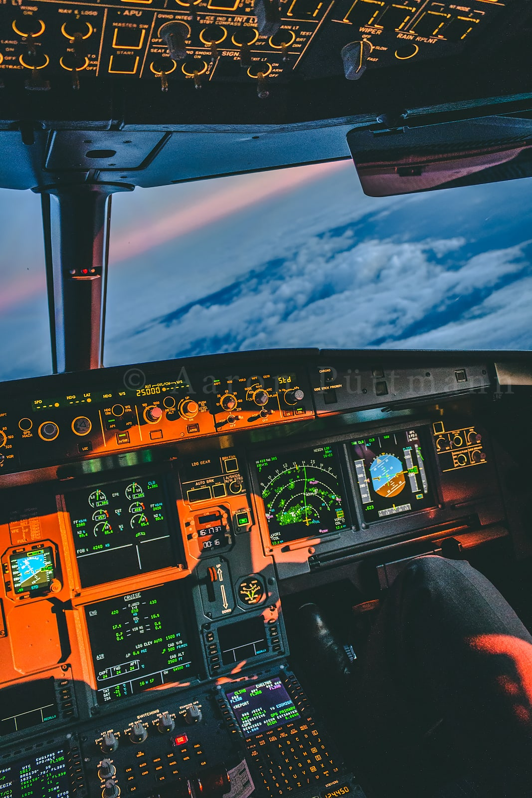 An Awesome A320 Cockpit Sunset Wallpaper